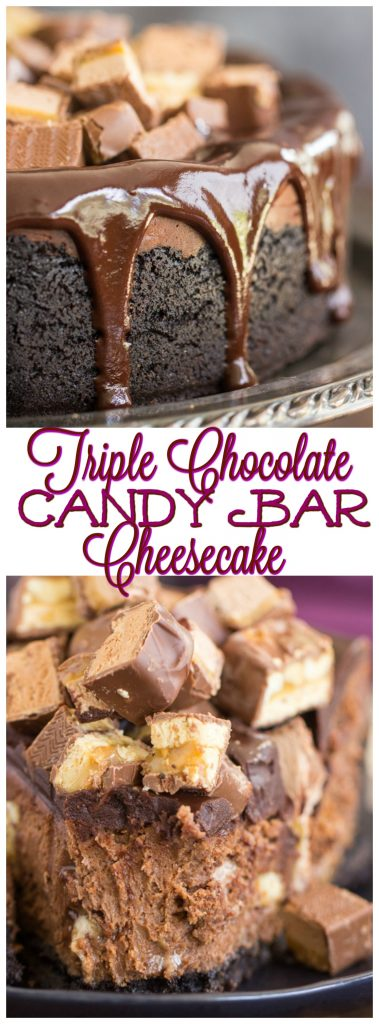 Triple Chocolate Candy Bar Cheesecake recipe image thegoldlininggirl.com pin 1