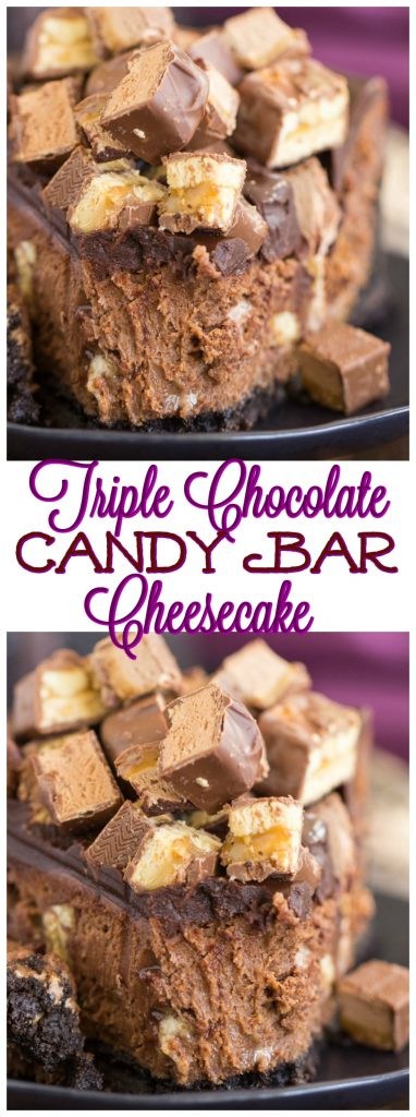 Triple Chocolate Candy Bar Cheesecake recipe image thegoldlininggirl.com pin 2