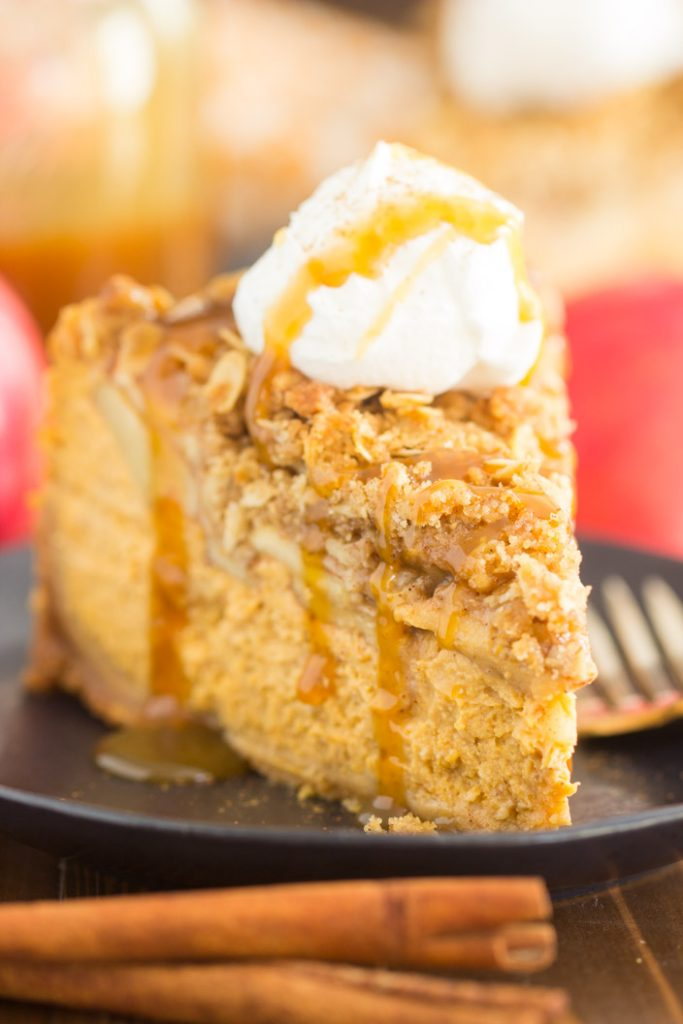 Apple Crisp Pumpkin Cheesecake recipe image thegoldlininggirl.com 15