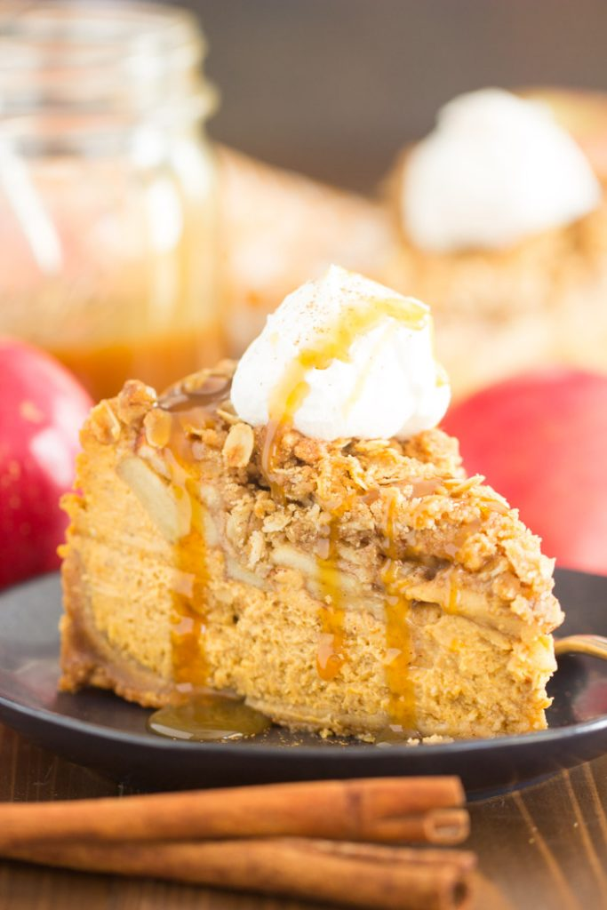 Apple Crisp Pumpkin Cheesecake recipe image thegoldlininggirl.com 16