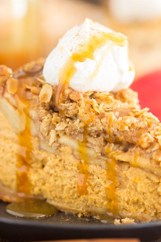 Apple Crisp Pumpkin Cheesecake recipe image thegoldlininggirl.com 17
