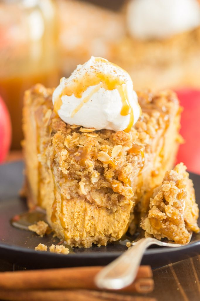 Apple Crisp Pumpkin Cheesecake recipe image thegoldlininggirl.com 18