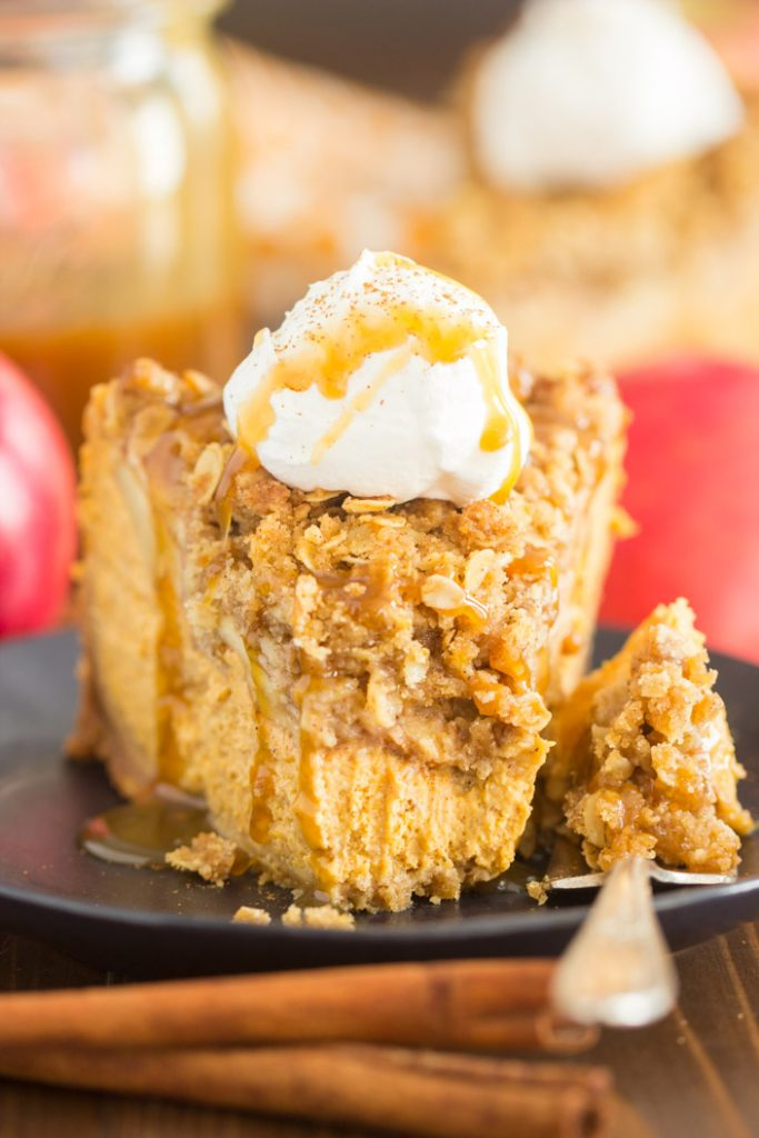 Apple Crisp Pumpkin Cheesecake recipe image thegoldlininggirl.com 19