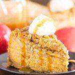 Apple Crisp Pumpkin Cheesecake recipe image thegoldlininggirl.com 600x900 1