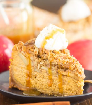 Apple Crisp Pumpkin Cheesecake recipe image thegoldlininggirl.com 600x900 1
