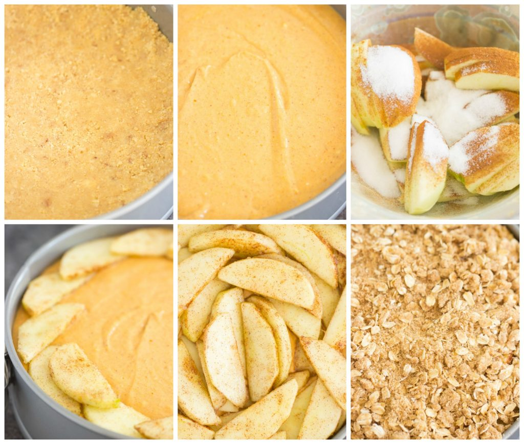 Apple Crisp Pumpkin Cheesecake recipe image thegoldlininggirl.com collage
