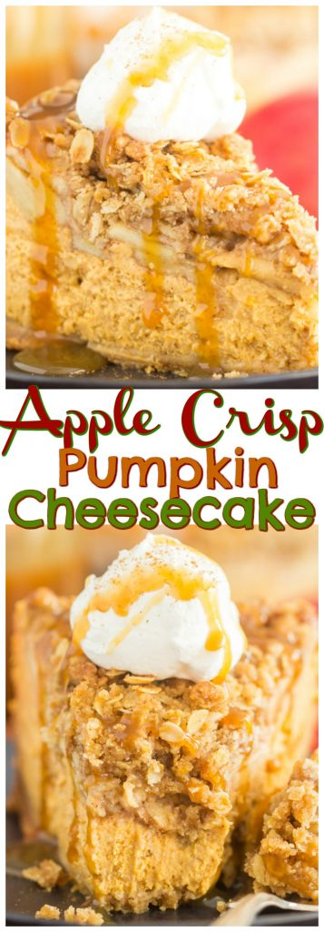 Apple Crisp Pumpkin Cheesecake recipe image thegoldlininggirl.com pin 3