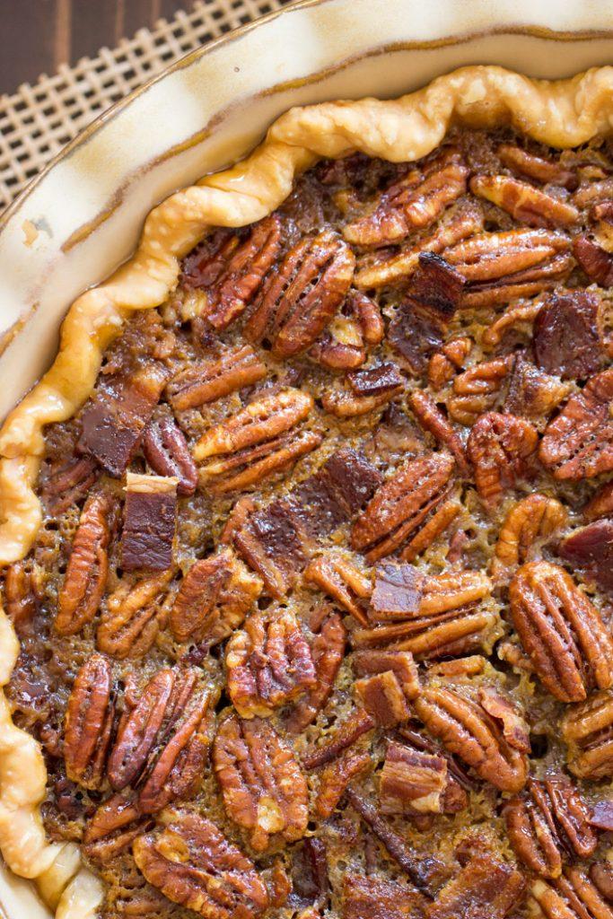Bourbon Bacon Pecan Pie recipe image thegoldlininggirl.com 4