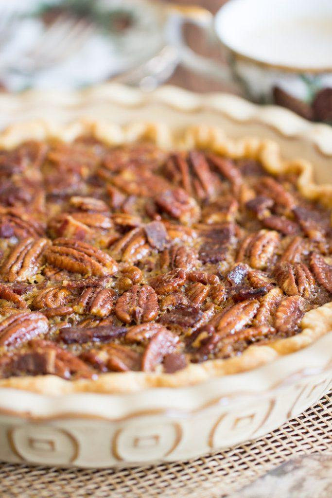 Bourbon Bacon Pecan Pie recipe image thegoldlininggirl.com 5