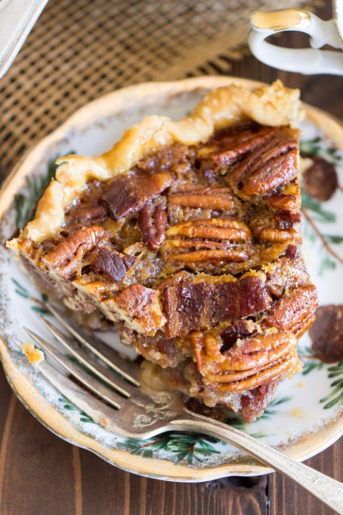 Bourbon Bacon Pecan Pie recipe image thegoldlininggirl.com 7