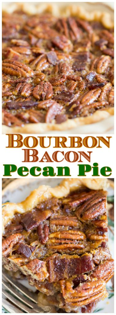 Bourbon Bacon Pecan Pie recipe image thegoldlininggirl.com pin 4