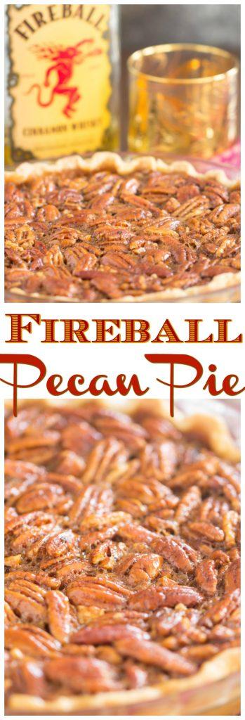 Fireball Pecan Pie recipe image thegoldlininggirl.com pin 1