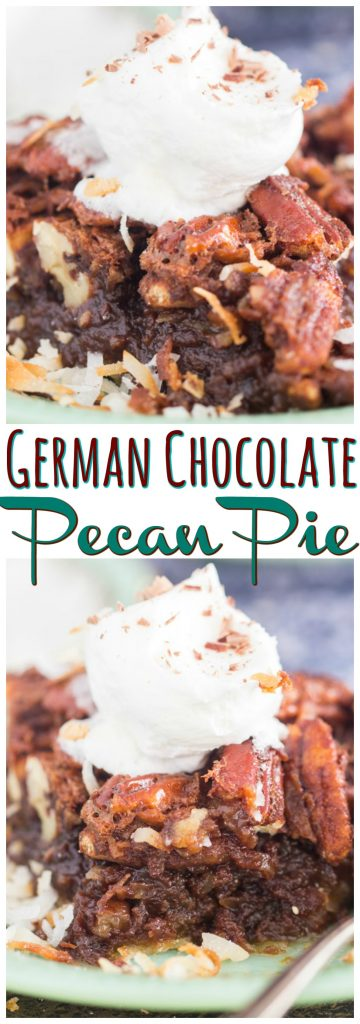 German Chocolate Pecan Pie recipe image thegoldlininggirl.com pin 2