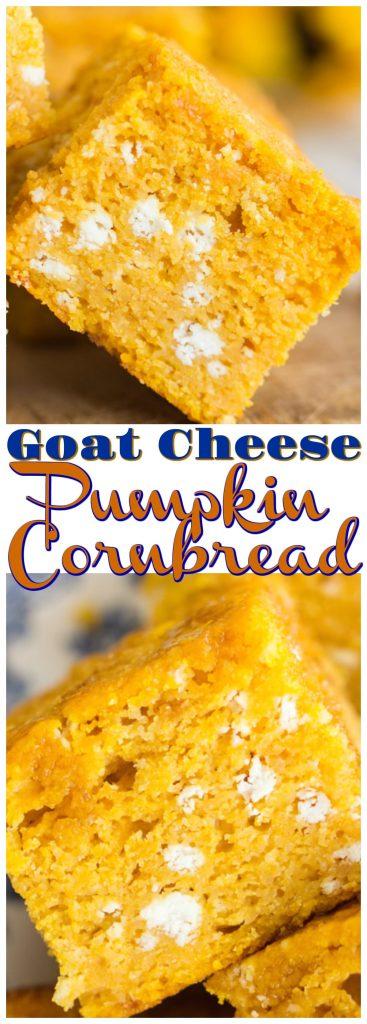 Goat Cheese Pumpkin Cornbread recipe image thegoldlininggirl.com pin 1