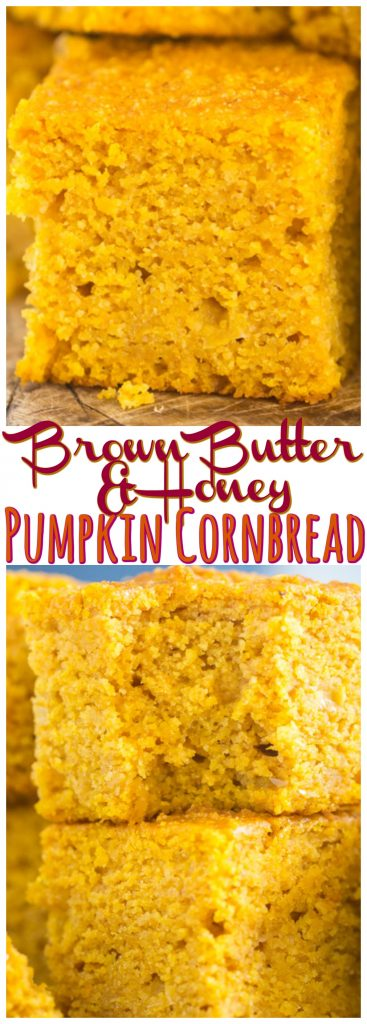 Honey Brown Butter Pumpkin Cornbread recipe image thegoldlininggirl.com pin 1