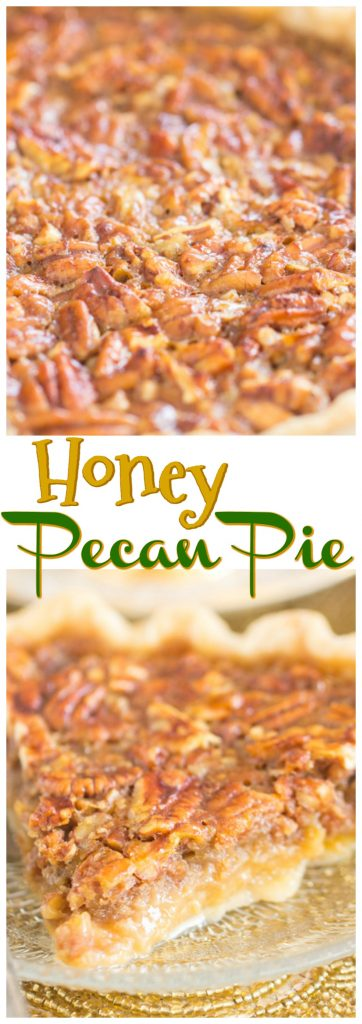 Honey Pecan Pie recipe image thegoldlininggirl.com pin 1