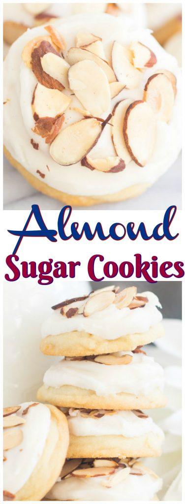 Iced Almond Cookies Almond Sugar Cookies recipe image thegoldlininggirl.com pin 1