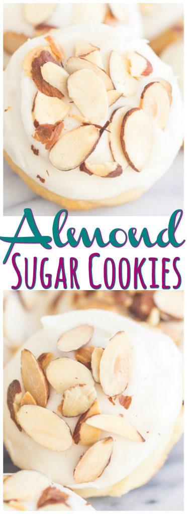 Iced Almond Cookies Almond Sugar Cookies recipe image thegoldlininggirl.com pin 2