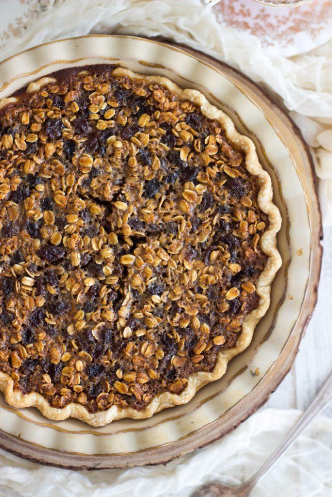 Oatmeal Rum Raisin Pie recipe image thegoldlininggirl.com 1