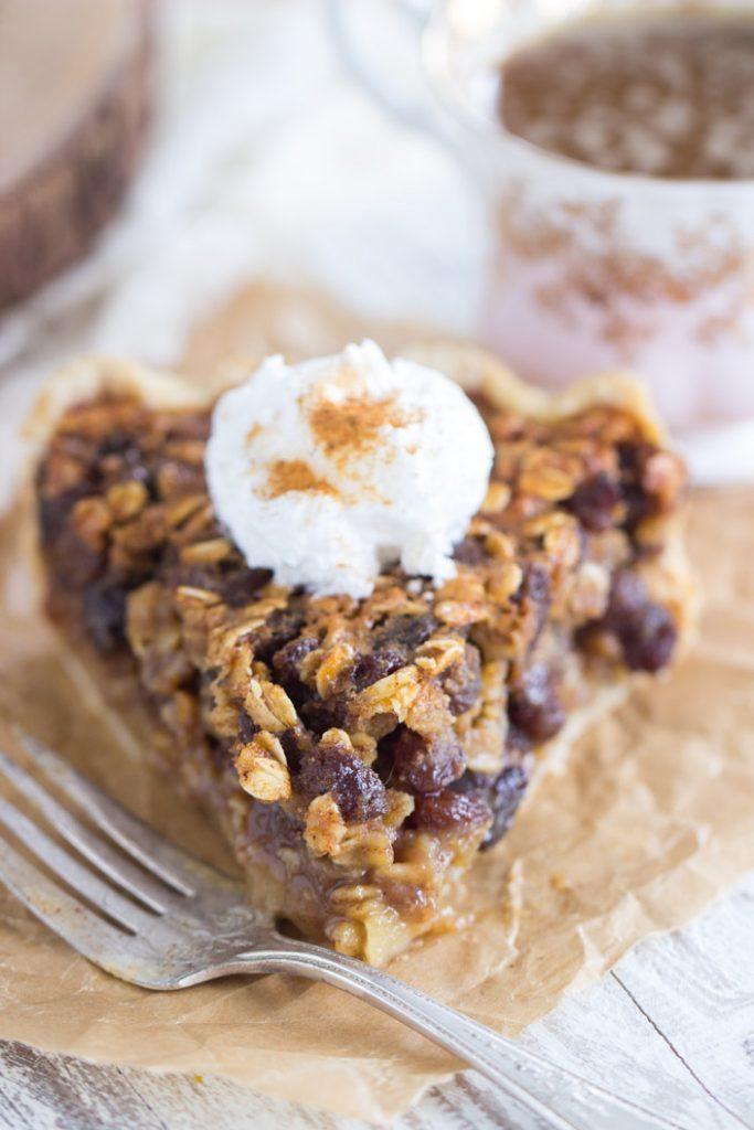 Oatmeal Rum Raisin Pie recipe image thegoldlininggirl.com 10
