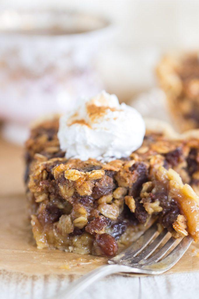 Oatmeal Rum Raisin Pie recipe image thegoldlininggirl.com 13