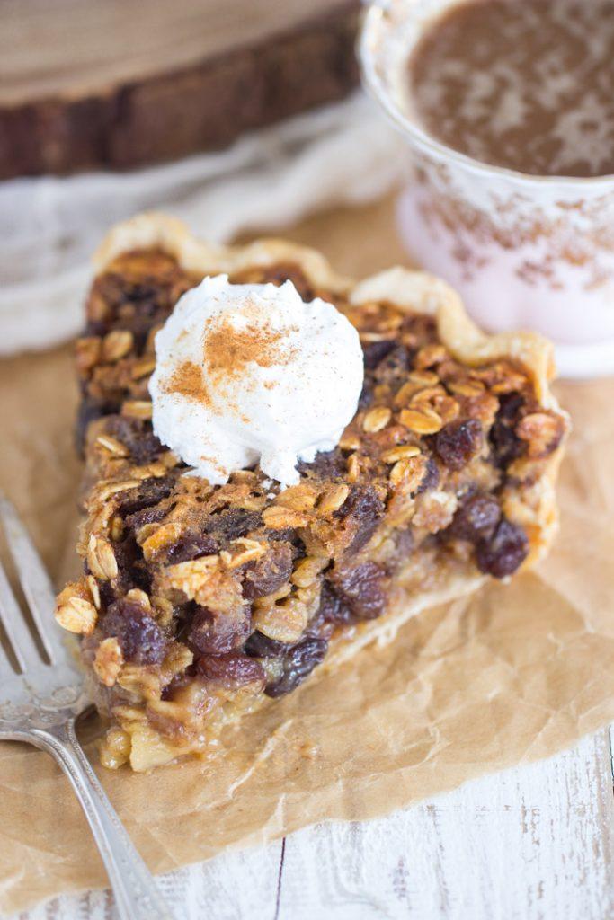 Oatmeal Rum Raisin Pie recipe image thegoldlininggirl.com 7