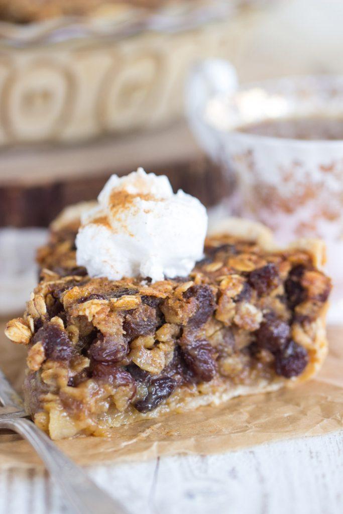 Oatmeal Rum Raisin Pie recipe image thegoldlininggirl.com 8