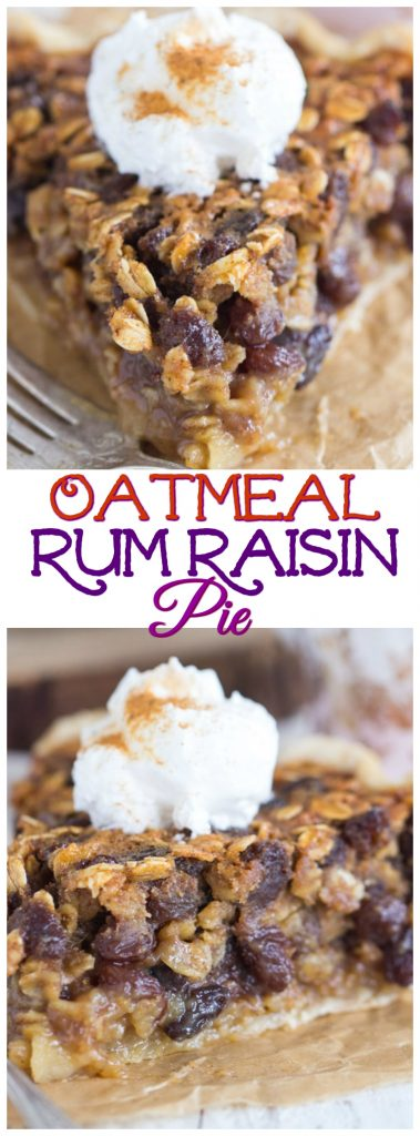 Oatmeal Rum Raisin Pie recipe image thegoldlininggirl.com pin