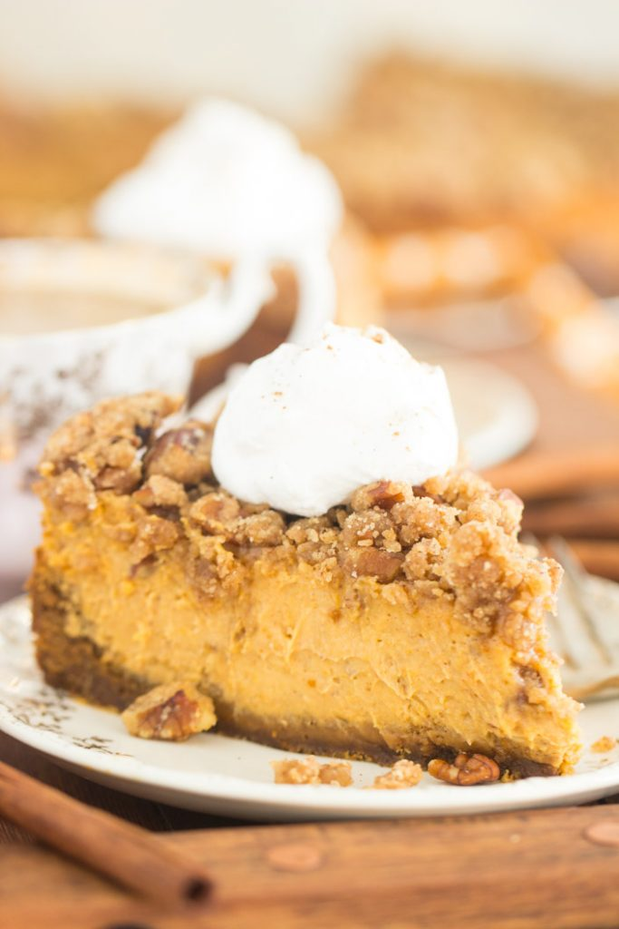 Streusel-Topped Pumpkin Cheesecake recipe image thegoldlininggirl.com 16