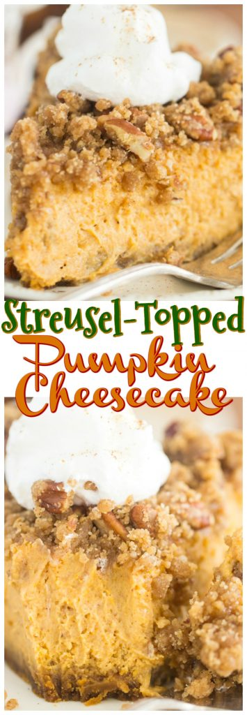 Streusel-Topped Pumpkin Cheesecake recipe image thegoldlininggirl.com pin 2