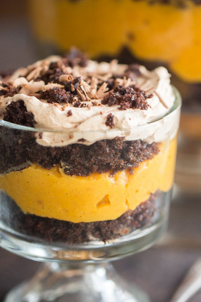 Triple Chocolate Pumpkin Trifle recipe image thegoldlininggirl.com 15