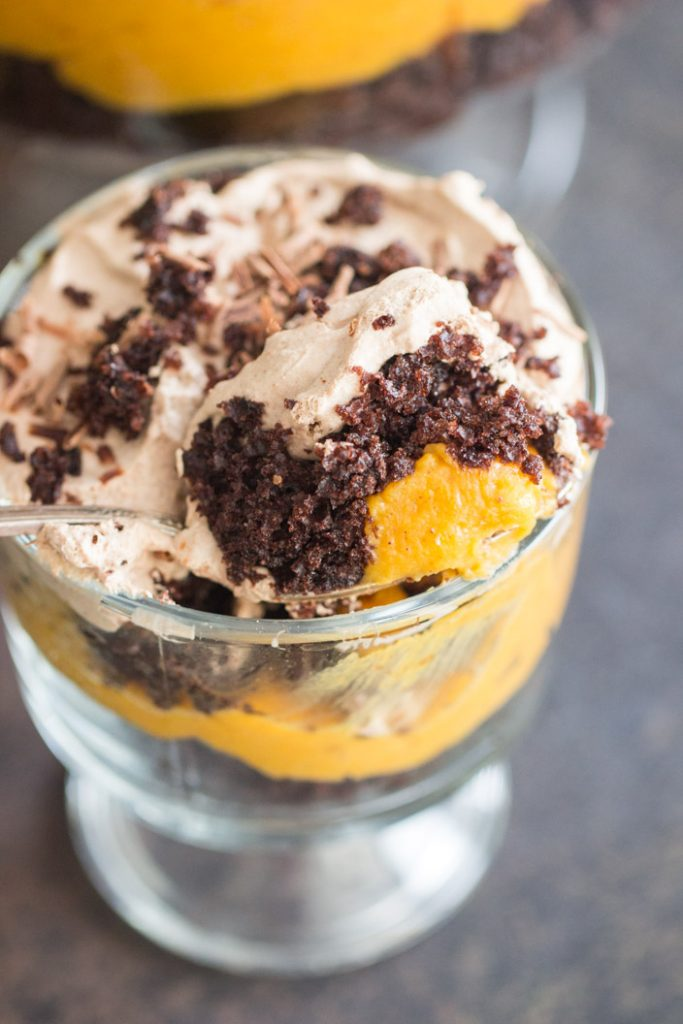 Triple Chocolate Pumpkin Trifle recipe image thegoldlininggirl.com 20