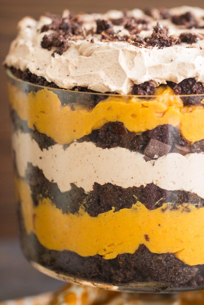 Triple Chocolate Pumpkin Trifle recipe image thegoldlininggirl.com 8