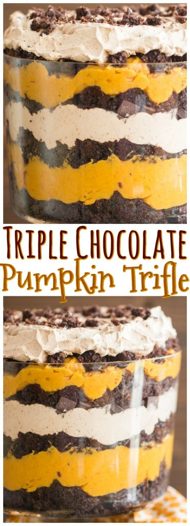 Triple Chocolate Pumpkin Trifle recipe image thegoldlininggirl.com pin