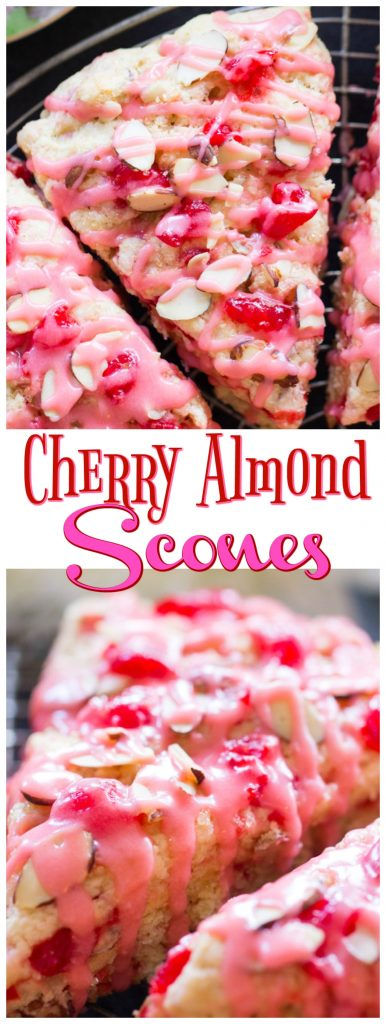 Cherry Almond Scones recipe image thegoldlininggirl.com pin 1