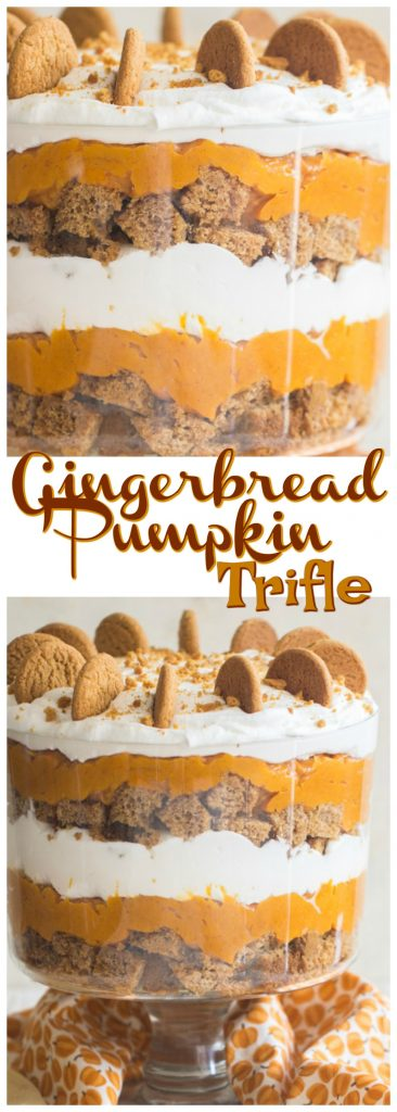 Gingerbread Pumpkin Trifle recipe image thegoldlininggirl.com pin 1