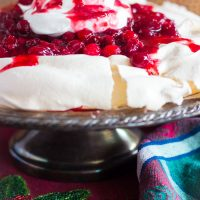 Pavlova Dessert with Cranberry Amaretto Sauce