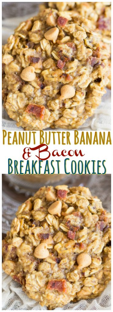 Peanut Butter Bacon Breakfast Cookies recipe image thegoldlininggirl.com pin 1
