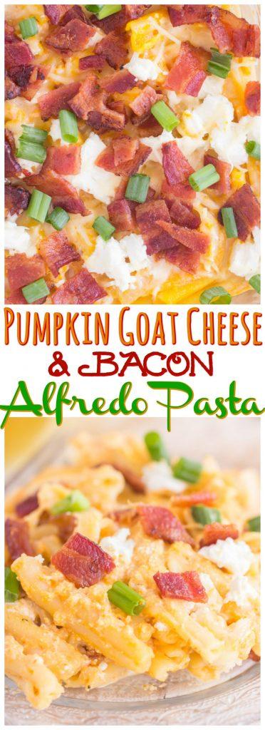 Pumpkin Goat Cheese Bacon Alfredo Pasta recipe image thegoldlininggirl.com pin 1