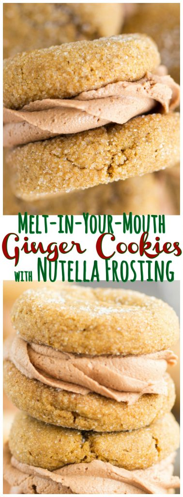 Soft Ginger Cookies with Nutella Buttercream recipe image thegoldlininggirl.com pin 1