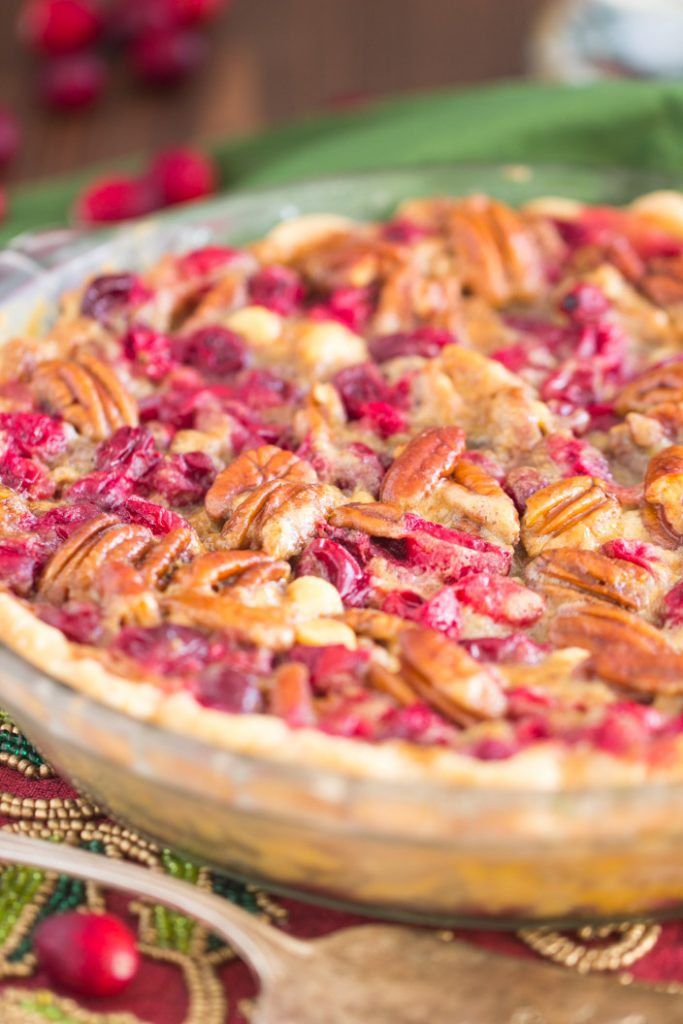 White Chocolate Cranberry Pecan Pie recipe image thegoldlininggirl.com 1