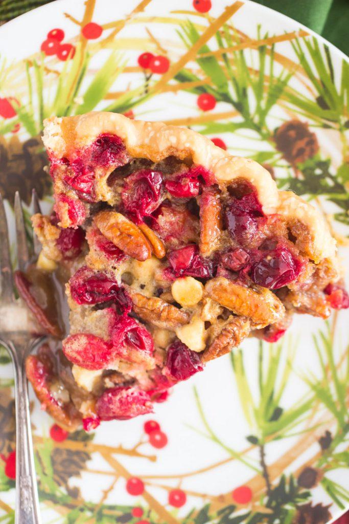 White Chocolate Cranberry Pecan Pie recipe image thegoldlininggirl.com 10
