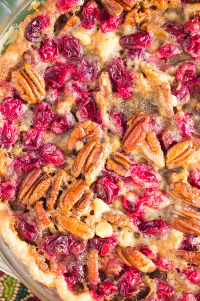 White Chocolate Cranberry Pecan Pie recipe image thegoldlininggirl.com 4