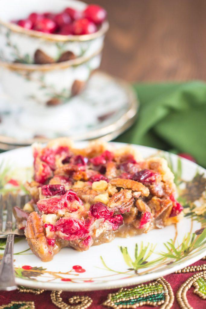 White Chocolate Cranberry Pecan Pie recipe image thegoldlininggirl.com 7