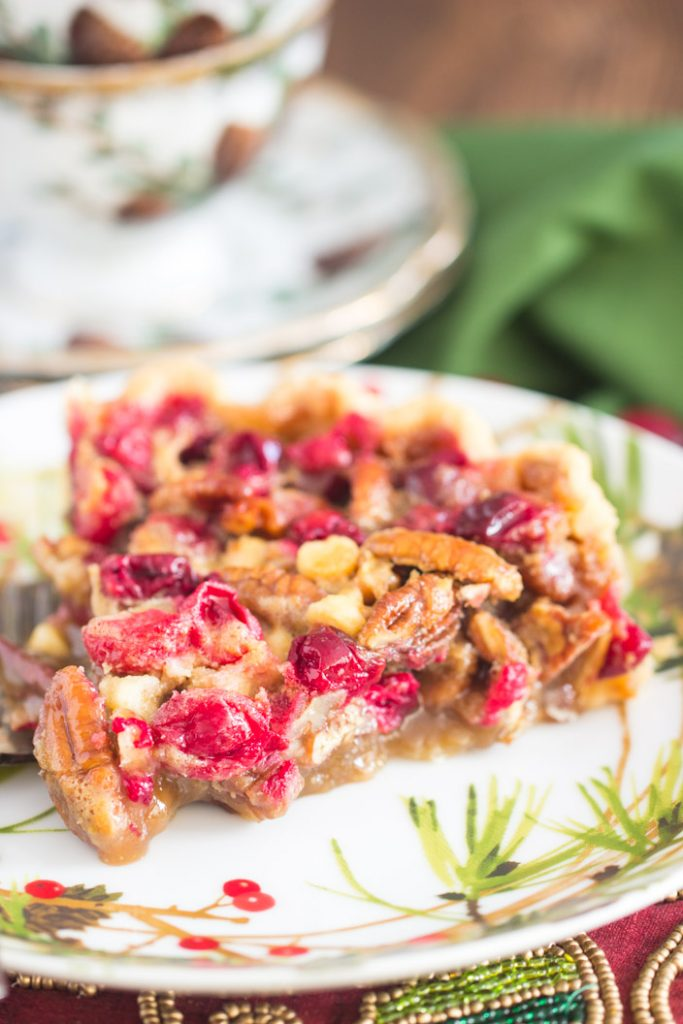 White Chocolate Cranberry Pecan Pie recipe image thegoldlininggirl.com 8