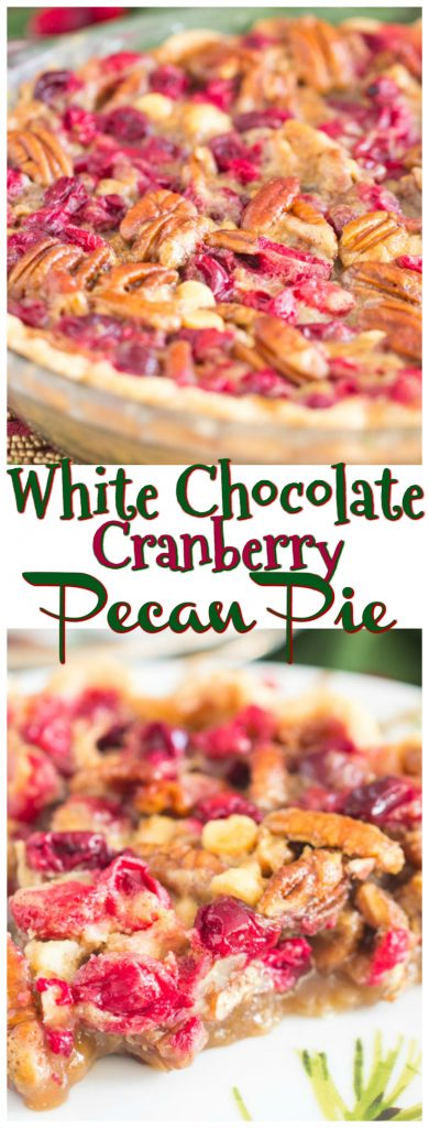 White Chocolate Cranberry Pecan Pie recipe image thegoldlininggirl.com pin 1