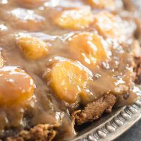 Chocolate Peanut Butter Banana Upside Down Cake Recipe