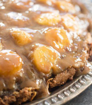 Chocolate Peanut Butter Banana Upside Down Cake recipe image thegoldlininggirl.com 600x900 2