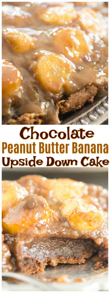 Chocolate Peanut Butter Banana Upside Down Cake recipe image thegoldlininggirl.com pin 2
