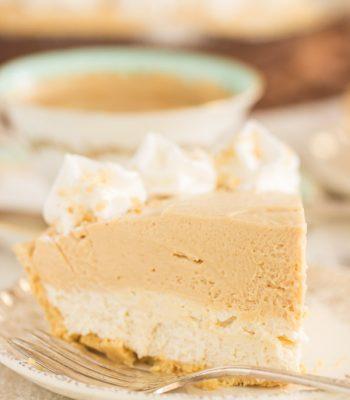 Double Layer No Bake Peanut Butter Pie recipe image thegoldlininggirl.com 600x900 2